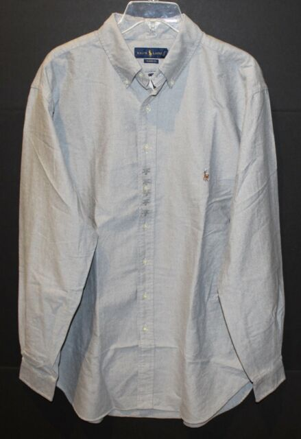 01d0949c Polo Ralph Lauren Big and Tall Mens Gray Oxford Button-Front Shirt NWT Size  LT