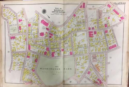 WASHINGTON PARK PLAT ATLAS MAP ROXBURY MA 1906 BOSTON ST JOSEPH/'S CHURCH