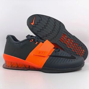 29325b4d9 Image is loading Nike-Romaleos-3-Orange-Black-Grey-Weightlifting-Shoes-