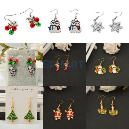Women Girls Christmas Theme Tree Bell Drop Dangle Earrings for Xmas Party Gift