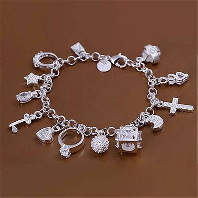 New Sterling Silver Plated Fashion Women 13 Charm pendant Beautiful Bracelet