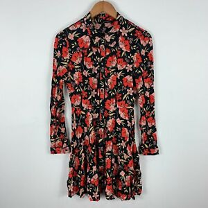 Zara-Womens-Dress-Small-Black-Floral-Long-Sleeve-Button-Closure-Collared