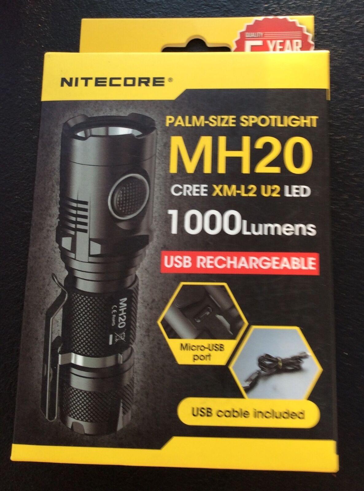 OVP Nightcore MH20 CREE palm-Größe spotlight wasserdicht XM-L2 LED 1000 Lumens