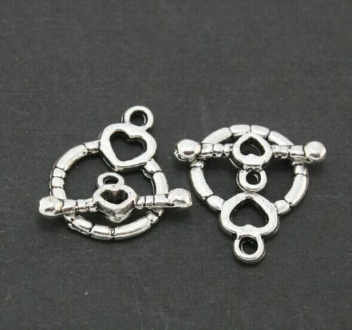 Free 100Sets Silver Plated Toggle Clasp Ring Round Heart Clasps For Bracelets