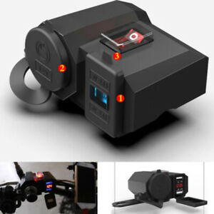 Motorcycle-12V-GPS-Cigarette-Lighter-Dual-USB-Power-Socket-Charger-Waterproof
