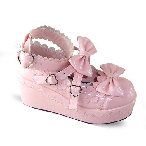 pink lolita Shoes Schuhe cosplay Chobits chii Puella Magi Madoka Magica sweet