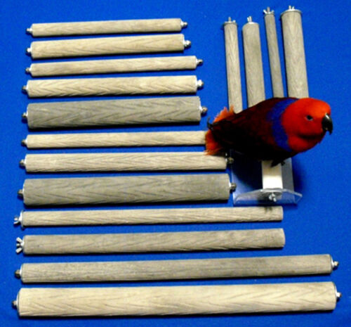 2 in dia x16 in SINGLE-ENDED bark-textured stone for nails//beak PEDICURE PERCH