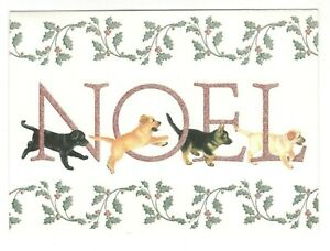 NOEL-PUPPY-DOGS-Christmas-Greeting-Card-w-Envelope-Chrissie-Snelling-Art-BT2