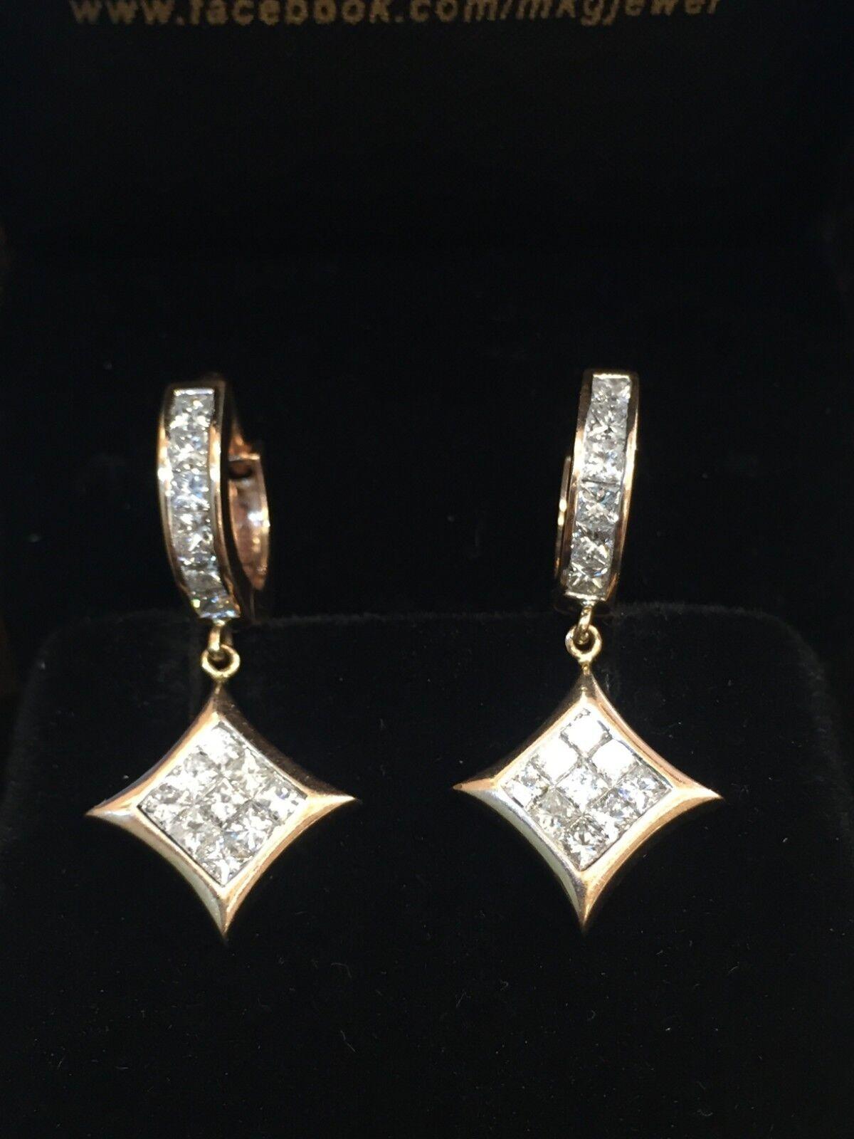 1.96 Cts Princess Cut Natural Diamonds Dangle Earrings In Fine Hallmark 14K gold