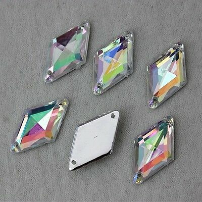 20/50PCS 14*24mm Clear AB Crystal Rhombu Acrylic Flatback Rhinestones Sew on