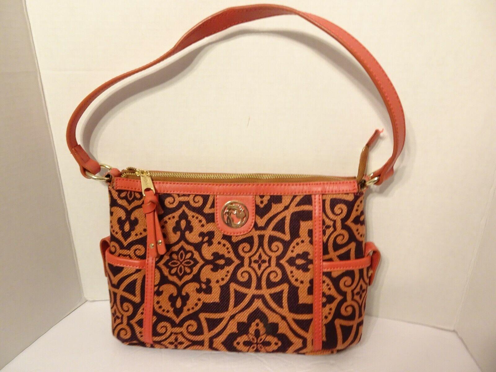 SPARTINA Simple Zip Maggioni Orange Plum Medallion Purse Bag Linen Leather