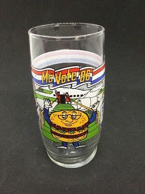 1986 McDonald/'s QUARTER POUNDER WITH CHESSE MC VOTE 86  6/'/' PROMO GLASS