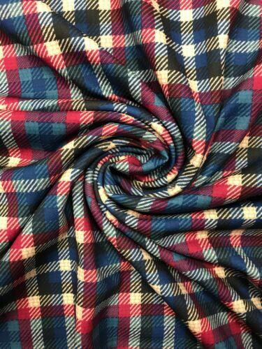 4 Metres Red//Blue//White Tartan Scuba Crepe Fabric