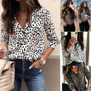 099dee95c89d Image is loading UK-Fashion-Womens-Leopard-Print-Chiffon-Blouse-Shirt-