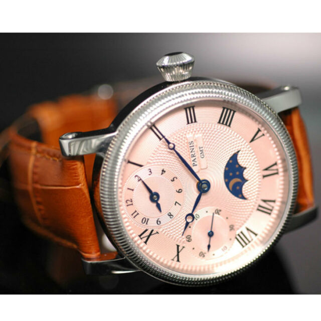 42mm parnis pink dial GMT leather strap hand winding movement mens watch PA61