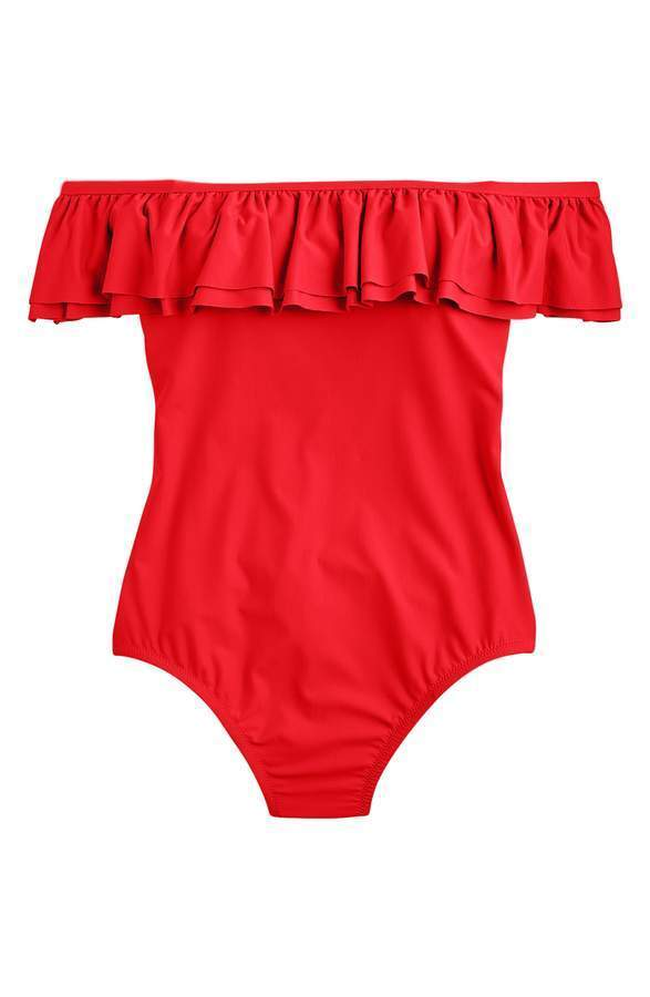 J.Crew Off-the-Shoulder Ruffle One-Piece Swimsuit RED Size 2 NEW Retail