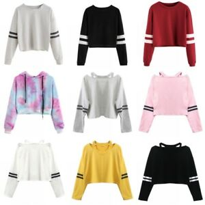 Details about Women Striped Hoodie Long Sleeve Jumper Crop Top Coat Sport  Pullover Tops