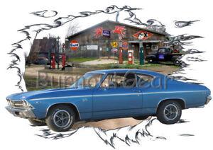 178508831 1969 Blue Chevy Chevelle SS d Custom Hot Rod Garage T-Shirt 69 ...