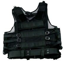 DELUXE VEST BLACK Tactical Swat Paintball Airsoft Police Right Handed Holster