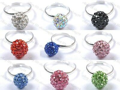 10MM Fashion Jewelry CZ Crystal Disco Ball Beads Silver Adjustable Ring Findings