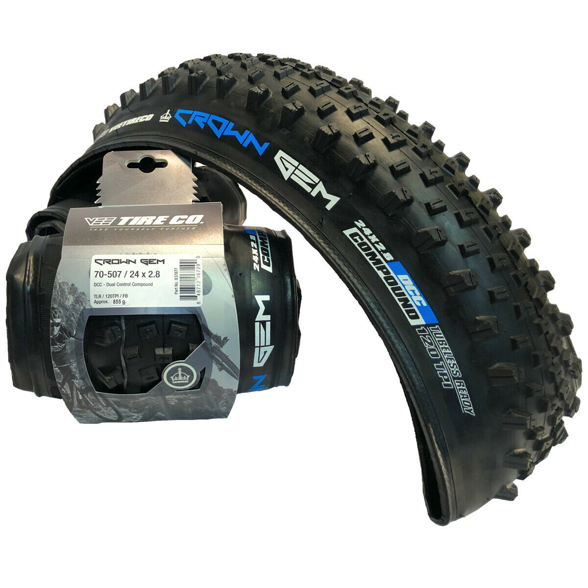 2 Vee Tire  Crown Gem Bike Tire with Folding Bead Dual Control Compound (24x2.8)  10 days return