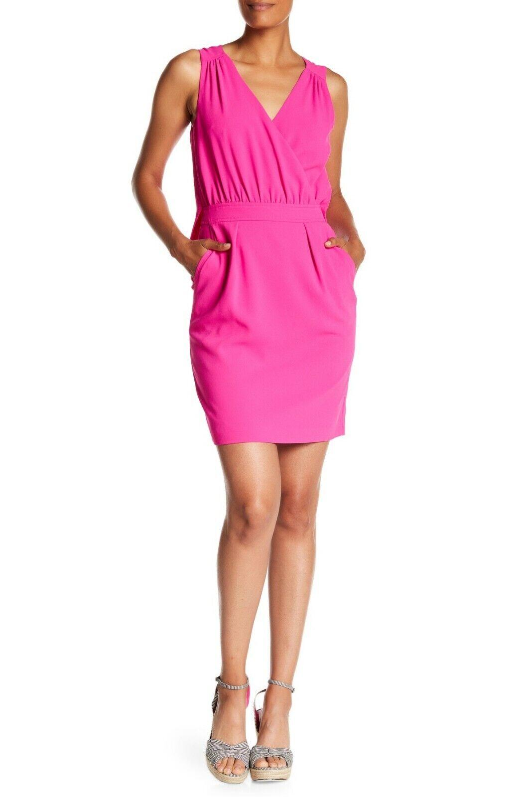NWT- Trina Turk Abrigo Surplice V-Neck Sleeveless Dress, Brilliant Fuchsia - 2