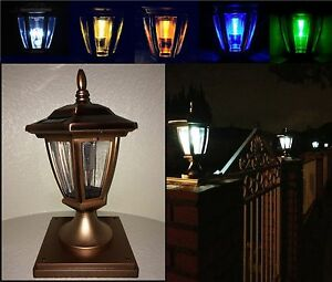 Solar light copper color post cap led 4x4 5x5 6x6 or wall mount image is loading solar light copper color post cap led 4x4 aloadofball Gallery