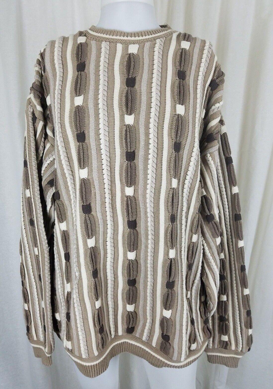 Vintage 80s Megalos Mens 2X Knit Sweater Crazy Pattern Hip Hop Rap Tan Biggie