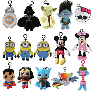 Cartoon-Plush-Coin-Clip-Toy-Bag-with-Zipper-for-Backpacks-Multiple-Styles