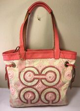 Coach Audrey Pink Op Art Swirl Leigh Slim Canvas Tote Shoulder Bag 17044 GUC