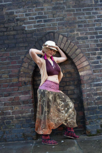 Sheer Beaded Ali Babas Seethrough Bellydance Harem Fairy Festival Boho Trousers