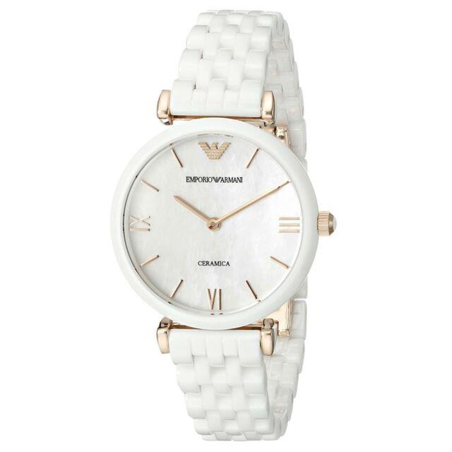 heiß-verkaufender Fachmann besondere Auswahl an neueste auswahl Emporio Armani AR1486 White Rose Gold Tone Ceramica Mother of Pearl Ladies  Watch