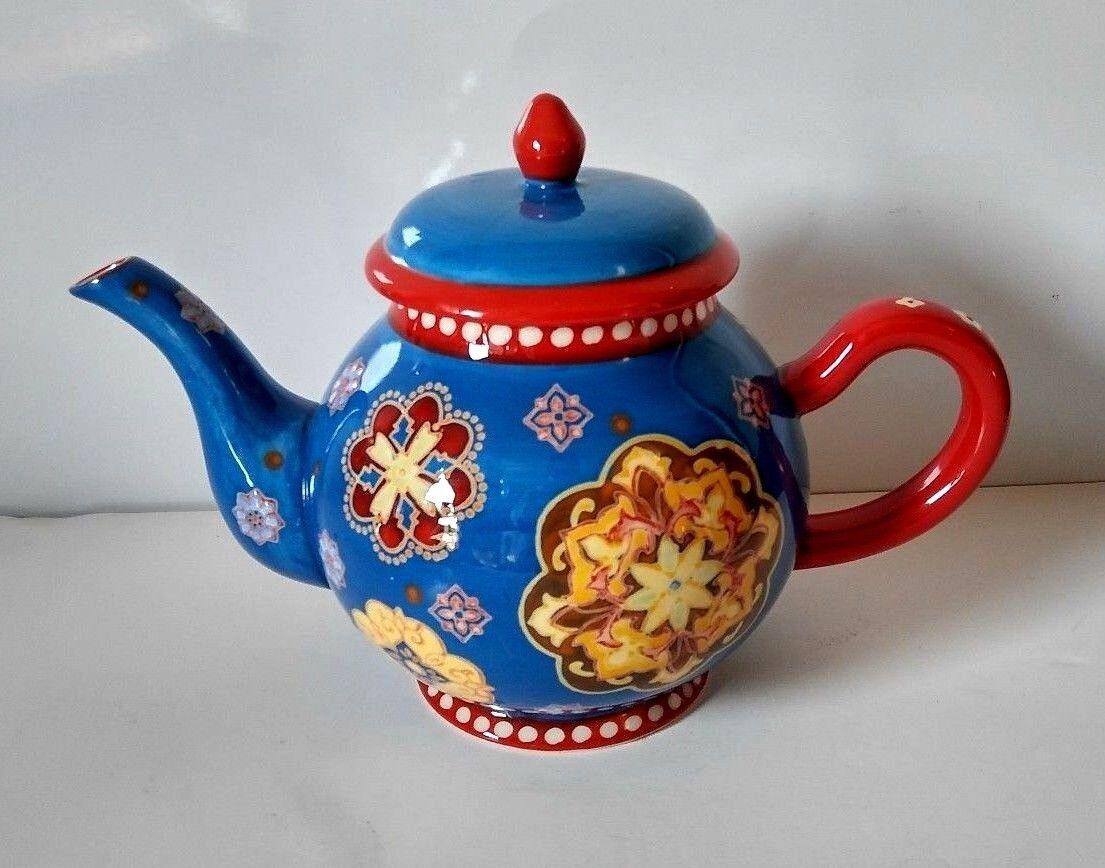 Dutch Wax Coastline Imports Ceramic Large Teapot Red bluee White Floral