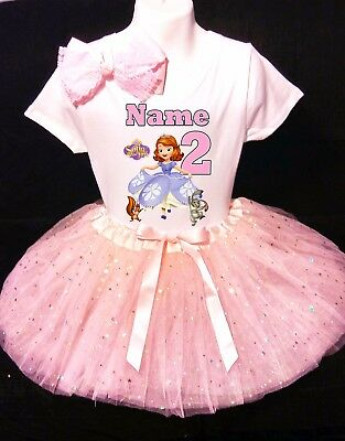 SOFIA the first Dress 2nd Second 2 birthday Shirt  Personalized  2 Pc Tutu outfit PURPLE Fast shipping +NAME+