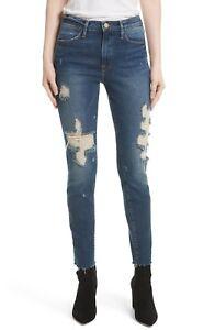 Distressed Le Raw Rise Frame Blue Skinny Denim High Enford Edge Ny X28 Jeans 25 wxHIXqI