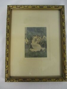 VINTAGE-SIGNED-VILLAR-034-FOR-HER-BOUDOIR-034-PRETTY-LADY-PICKING-FLOWERS-PHOTOGRAPH