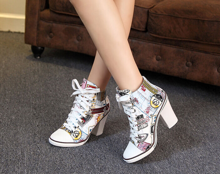 Stylish Womens Korean Hot Floral Stilettos And And And Block Heel Leather Lace Up shoes bcd33a