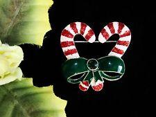 Yum! Silvertone Green Rhinestone & Enamel Christmas Candy Canes & Bow Brooch!