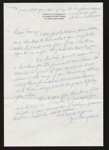 Jim James Conzelman signed autograph handwritten letter