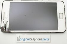 OEM Samsung Galaxy S2 GT-i9100 LCD with Digitizer with Frame WHITE CRACKED LENS
