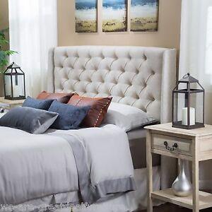Bedroom Furniture Queen/Full Size Bed Wingback Beige ...
