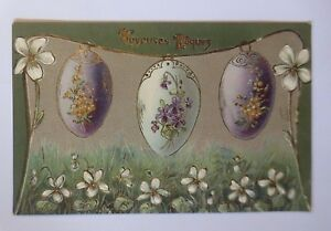 034-Ostern-Ostereier-Blumen-Jugendstil-034-1907-Praegekarte-52236