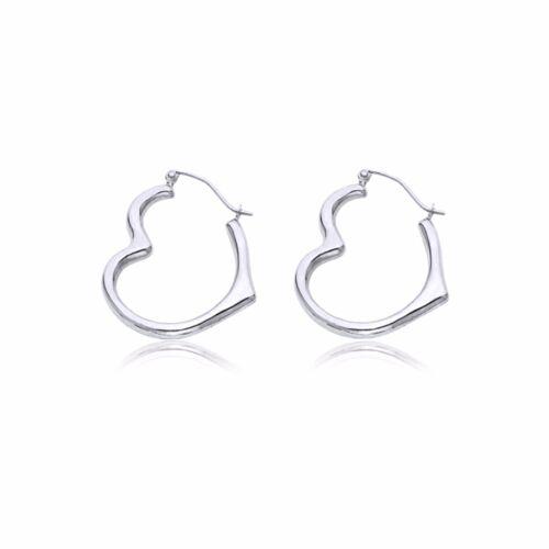 14K White Gold Heart Hoop Earrings Love Round Women Girls