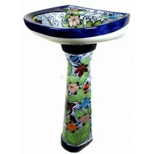 Fabulous Details About Mexican Talavera Pedestal Sink Handcrafted Ceramic Colibri Machost Co Dining Chair Design Ideas Machostcouk