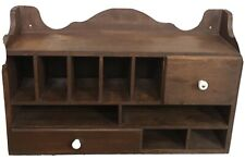 Vintage Wood Desktop Organizer Display Shelf Cubby Mail Sorter Charging Station