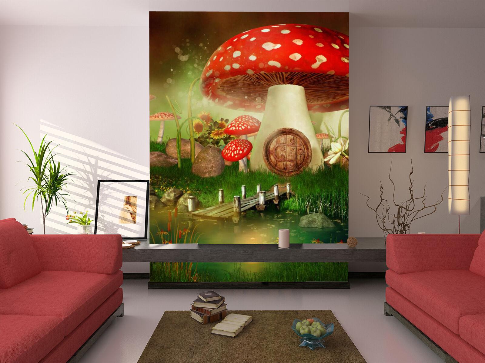 3D Mushroom house Grassland Wall Paper Print Decal Wall Deco Indoor wall Mural