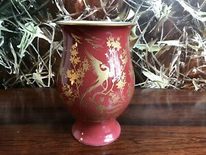 Hutschenreuther-Germany-Classy-Vase-9-3-8in-Ox-Blood-Red-With-Gold-Decoration