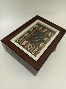 Nautical Maritime Wooden Jewelry Box Framed Knot Types Lid.