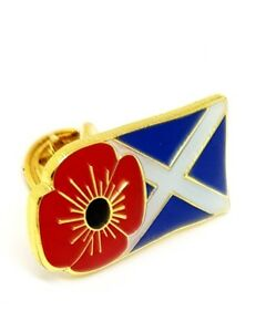 100% UK Stock! Scotland St Andrew's Flag Army Red Poppy Enamel Pin Badge Brooch