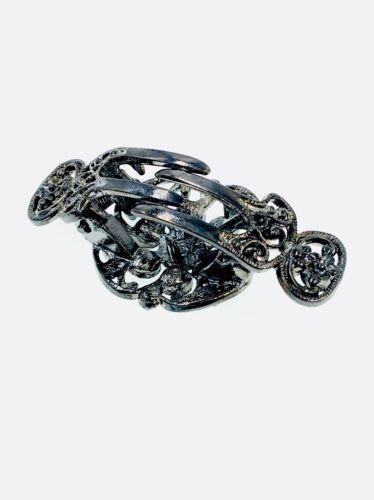 USA Vintage Hair Claw Clip Jaw Hairpin use Swarovski Crystal Elegant Black Gray